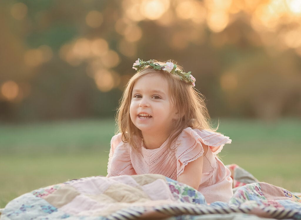 beautiful 3 year old milestone session