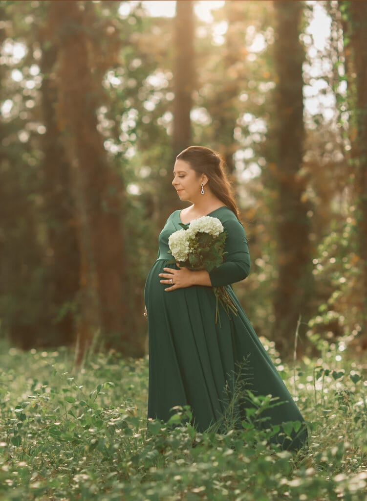 stunning mother to be in green gown