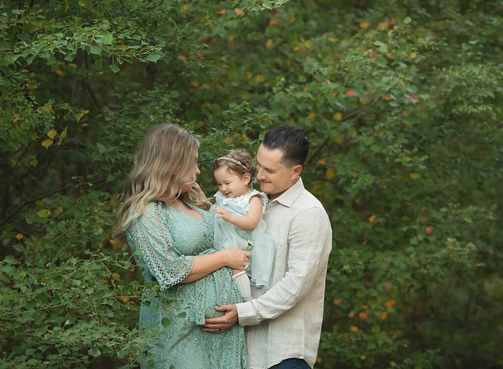 family of three with one year old