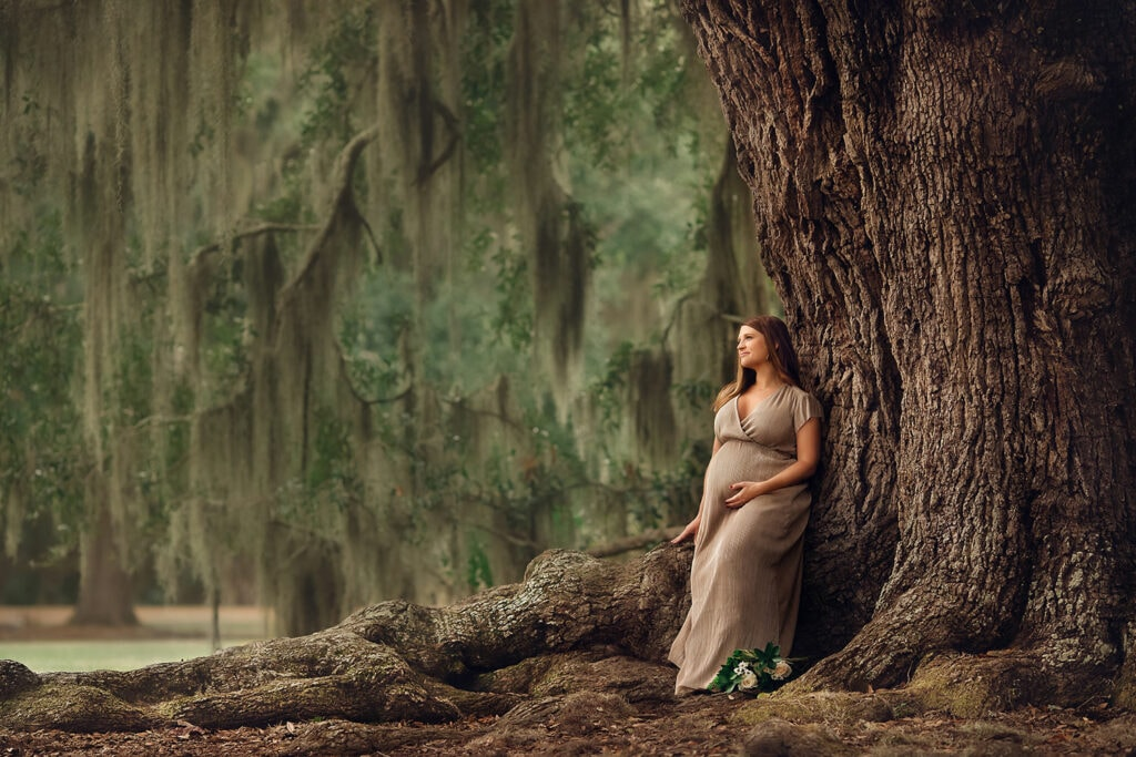 beautiful expecting mother sitting on large oak tree