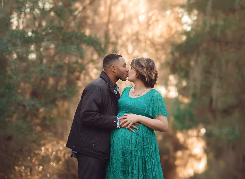 beautiful couple's sunset maternity session