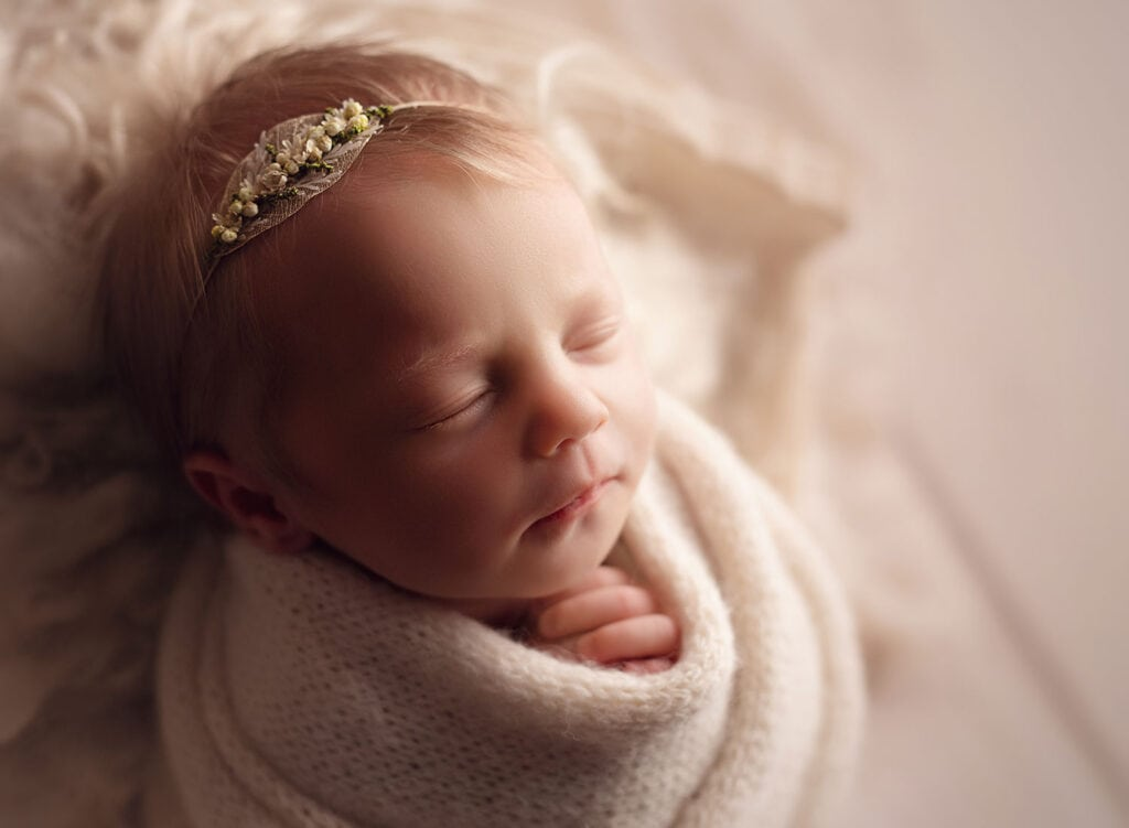neutral newborn girl photo session