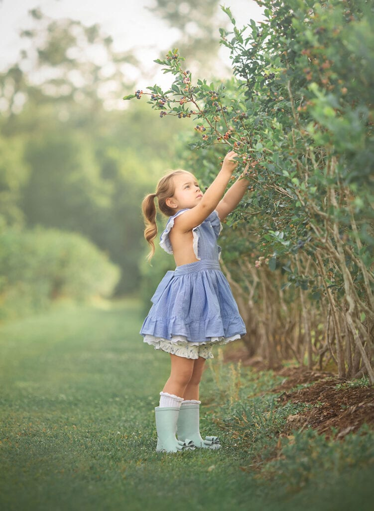 picking blueberries in well dressed wolf Naomi