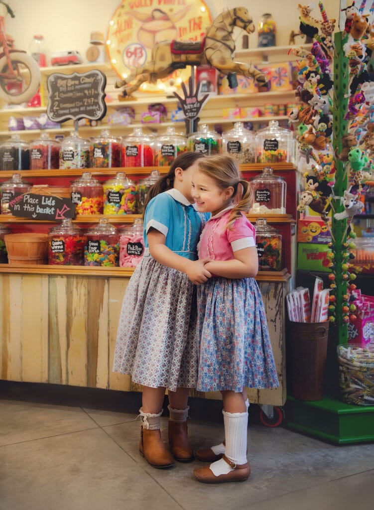 vintage style photoshoot in candy store