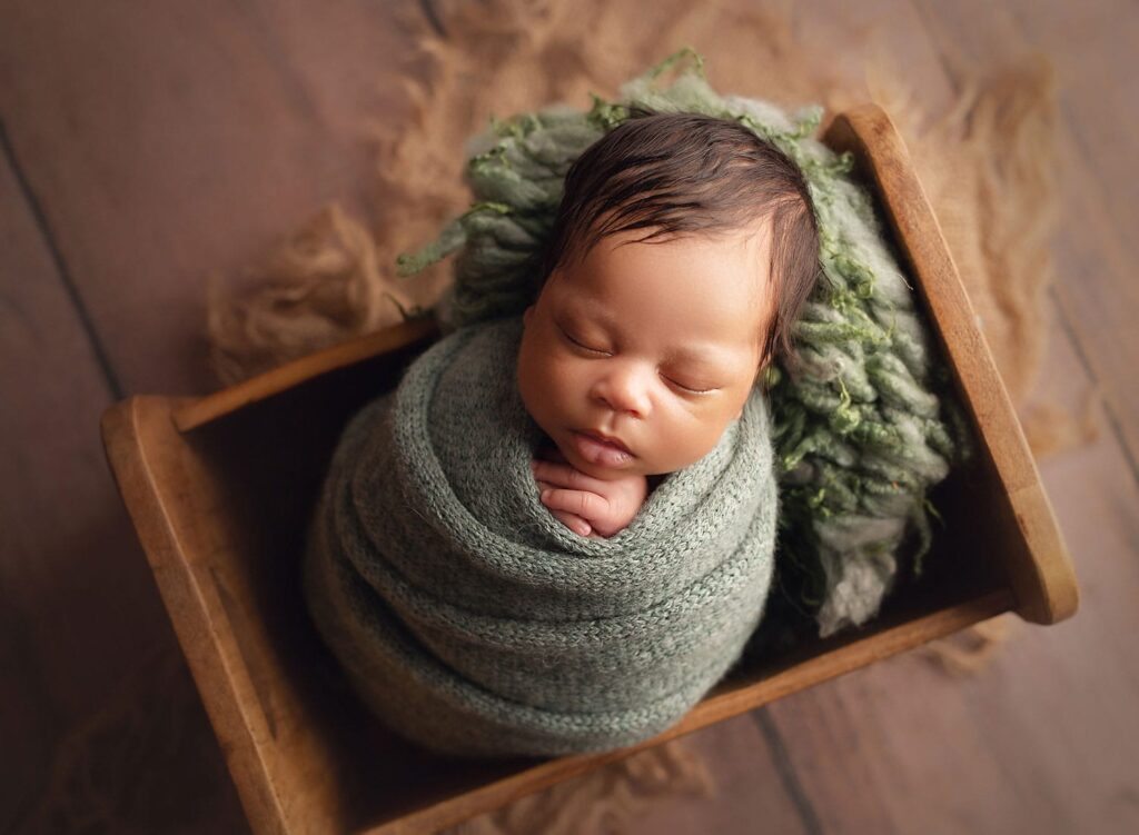wrapped newborn session