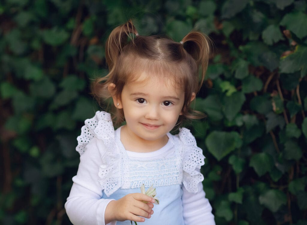 two year old with pig tails